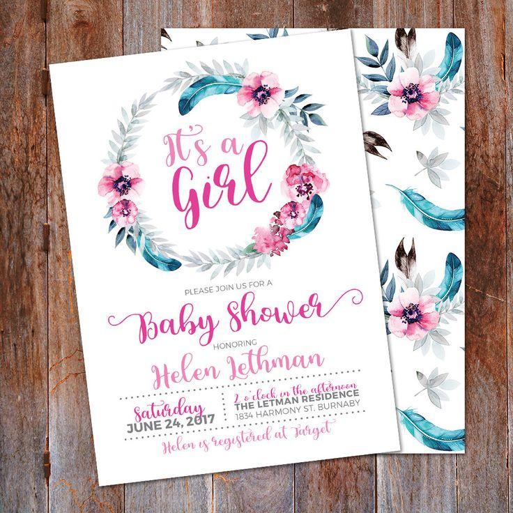 It's a Girl Baby Shower Invitation, Boho Tribal wreath invite, It's a Boy Invite, Tribal Baby Shower, Feather Wreath, Boho Baby Shower by LMNDesignStudio on Etsy https://www.etsy.com/ca/listing/521608865/its-a-girl-baby-shower-invitation-boho