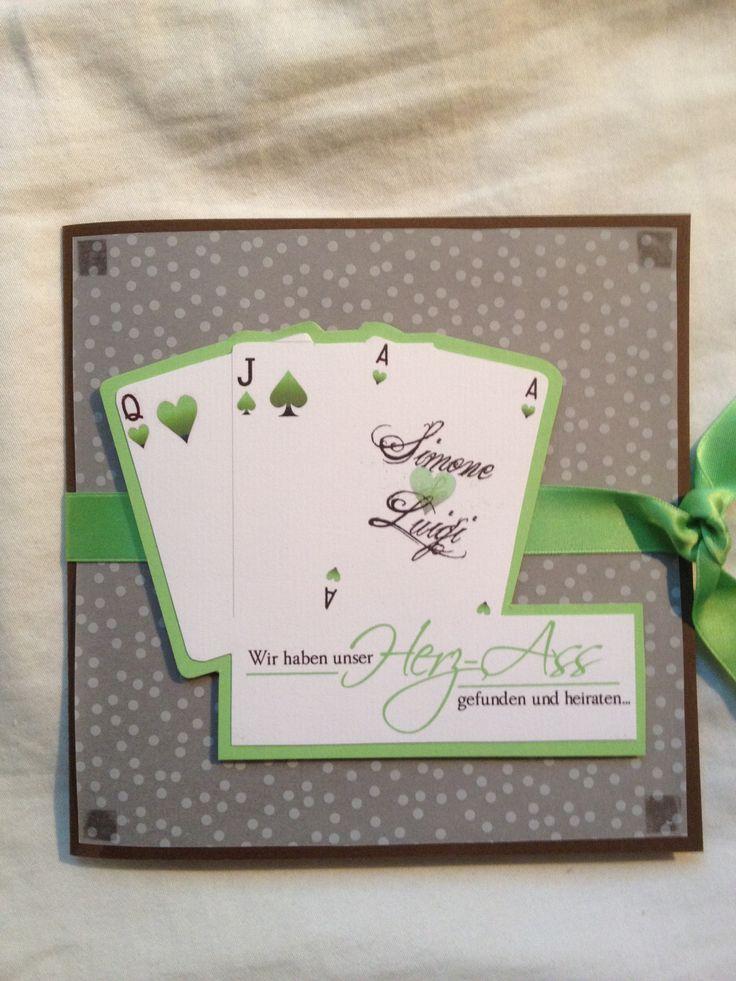 Einladung Zur Hochzeit Mit Pokerkarten Motiv   Variante In Schokobraun Und  Apfelgrün