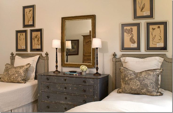 Gorgeous gingham french twin headboards simple painted for Guest room with twin beds