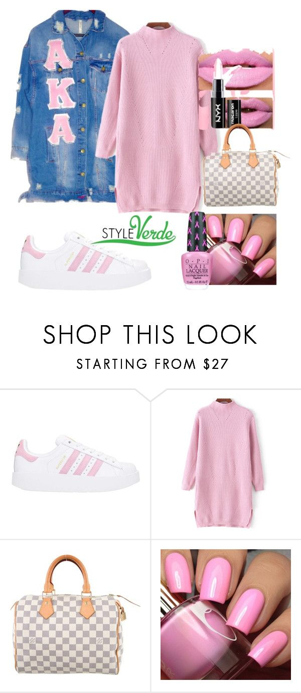 """Pink no Baby"" by cagreinvented on Polyvore featuring adidas and Louis Vuitton"