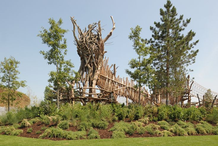 Queen Elizabeth Olympic Park Timber Lodge and Tumbling Bay Playground, London CLT / European Redwood / Thermo Treated Oak Boarding / Birch Plywood / English Oak / Stag Oak / Willow / Hazel