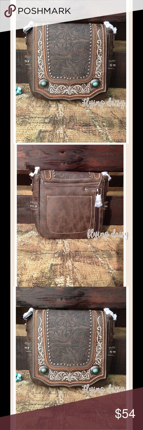 """Concealed Carry Messenger Bag Western Boho Bag Western vegan leather concealed carry flap messenger purse with tooled scrolling, embroidered accents, antique silver tone concho and turquoise stone, zippered enclosure on the top of the bag, concealed carry zippered pocket to conceal your handgun (7"""" x 5.5"""").  The inside compartment divided by a medium zippered pocket, also inside of bag has a zippered pocket, and 2 open pockets. Metal feet on the bottom for protection and stability. Single…"""