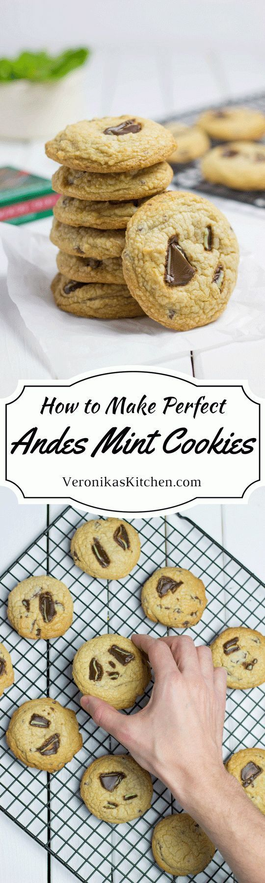 These Andes Mint Cookies are soft inside, crispy outside, and have a perfect balance between mint, chocolate and vanilla flavors. It is the perfect dessert idea to celebrate St. Patrick's Day!