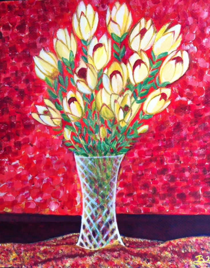 Floral still life acrylic painting.  September 2014.