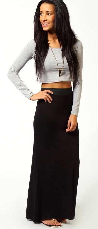 Long sleeve crop top and maxi skirt.
