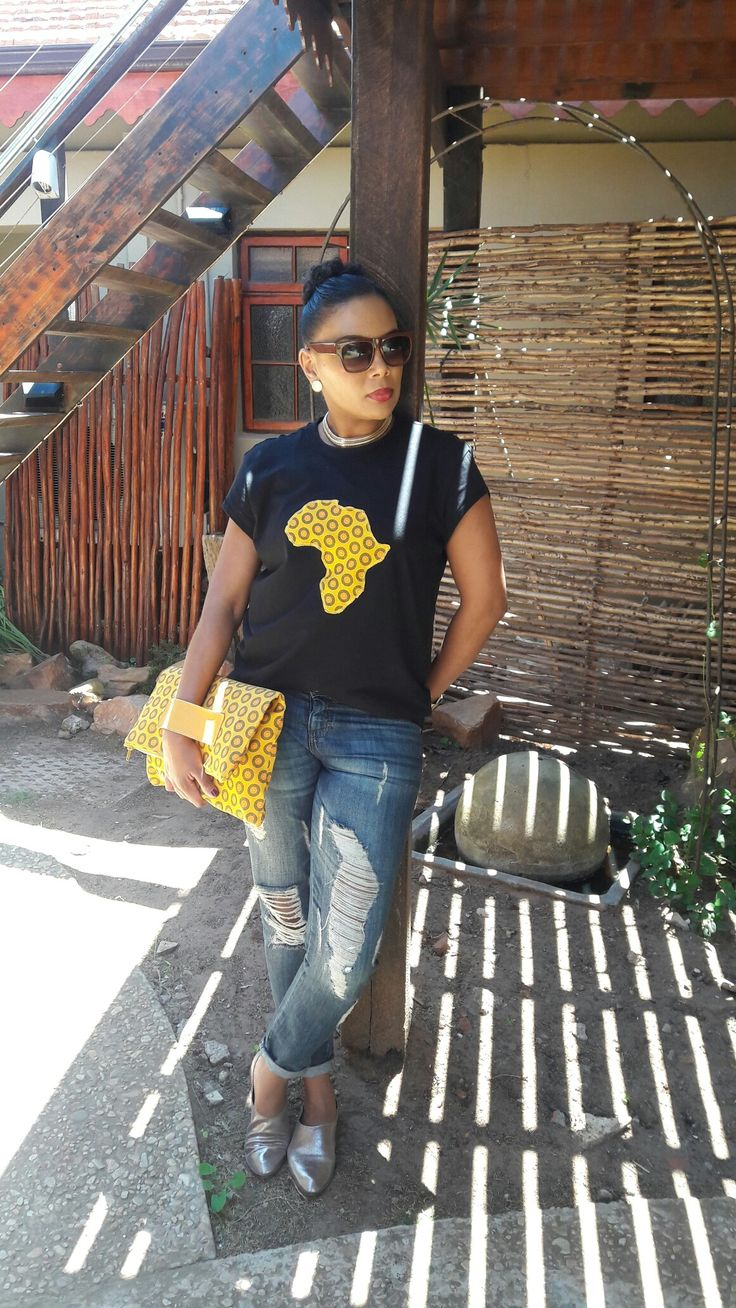 Africa t-shirt and clutch bag made from traditional Shweshwe fabric by CultureCut