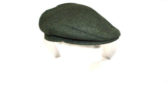 Vintage Mens Hat Loden Green Newsboy Gatsby Cap by DieVoltVintage