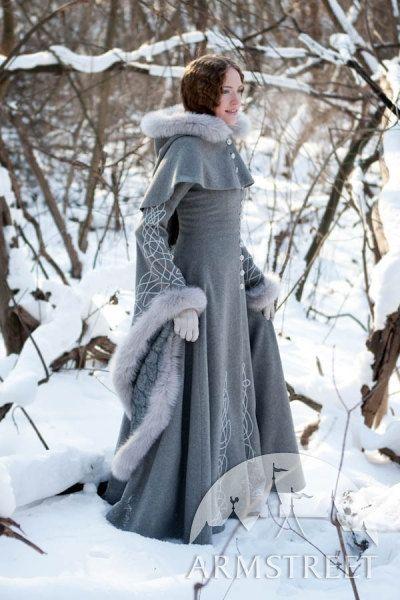 "Wool Grey Fantasy Coat ""Heritrix Of The Winter"" snow princess white queen fur coat. $822.00, via Etsy."