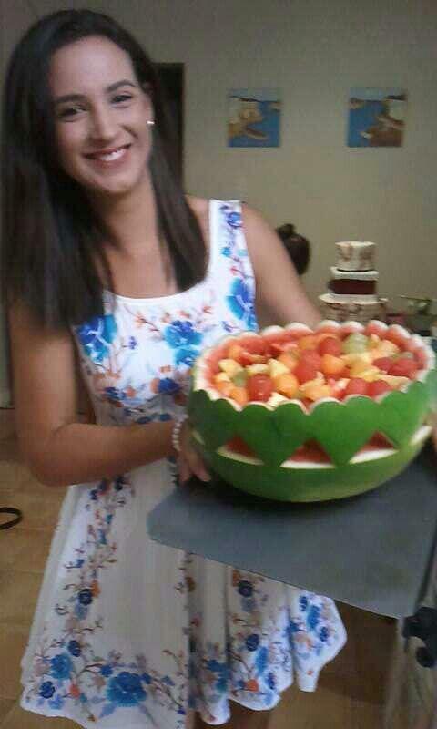 Watermelon art - watermelon heart shaped fruit bowl Engagement party (fruit creations)