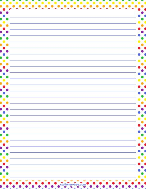 Printable rainbow polka dot stationery and writing paper. Multiple versions available with or without lines. Free PDF downloads at http://stationerytree.com/download/rainbow-polka-dot-stationery/