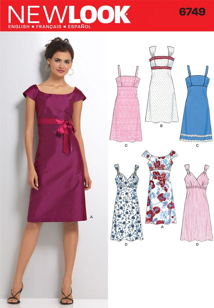 NewLook 6749 - Cute Miss Date Dresses Sewing Pattern Size Condition: New,  uncut, factory folded sewing pattern and instructions.