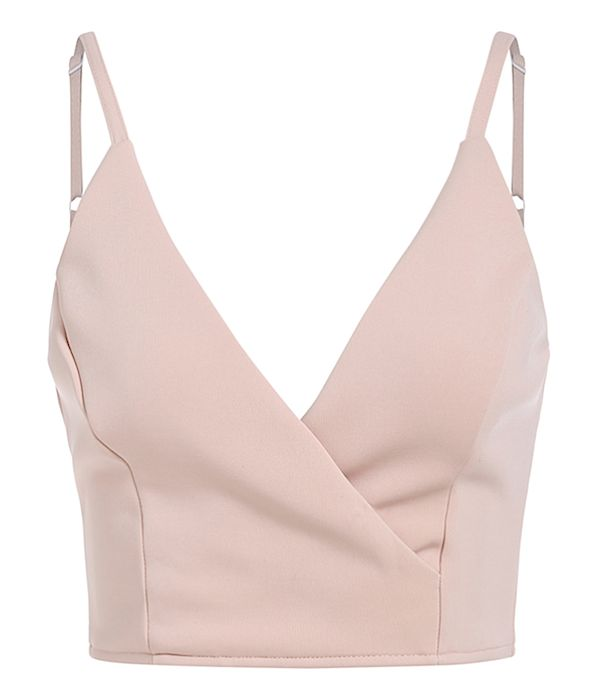 Ray V-Neck Cropped Tank Top - Pastel Pink from Raw Glitter | Shop Hottest New Party Dresses | Women's Clothing, Jewelry