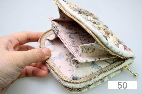DIY Wallet with yo-yo flowers step-by-step tutorial.