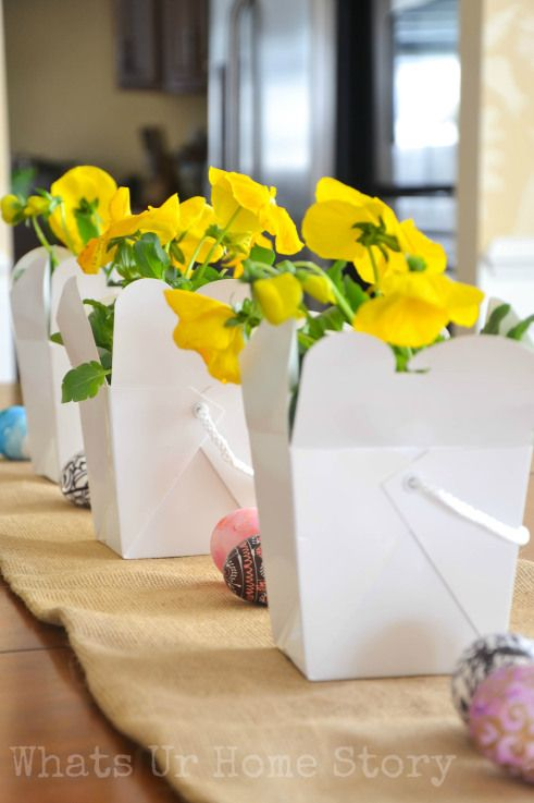 Chinese Take Out Box Vase, Spring centerpiece. You can customize it to fit any season by using whatever plant that is available during the time; marigolds in Summer, mums in Fall etc. www.whatsurhomestory.com