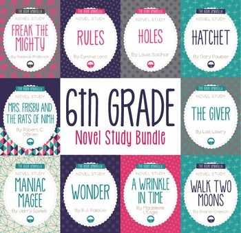 Novel study bundle. This bundle includes 10 of our novel studies selected for sixth grade students.Save 30% with the purchase of this bundle!