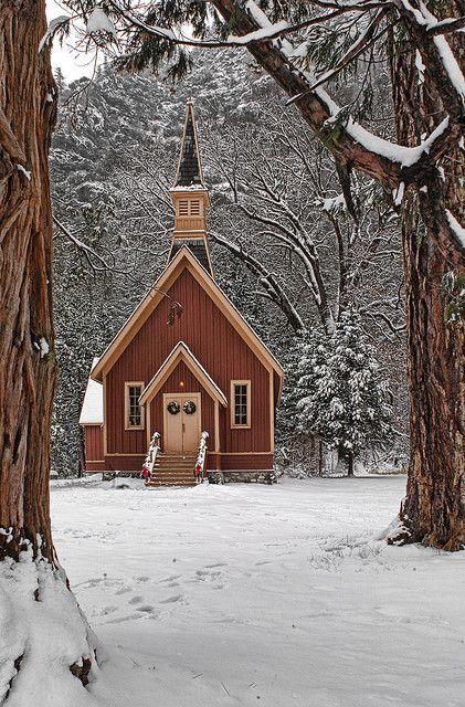 Christmas in Yosemite Valley Chapel, Yosemite National Park, California
