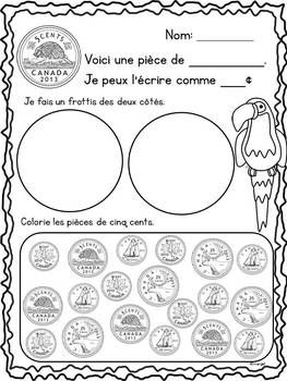 CANADIAN MONEY (COINS) MATH PRINTABLES IN FRENCH - LES PIèCES DE MONNAIE - TeachersPayTeachers.com $5