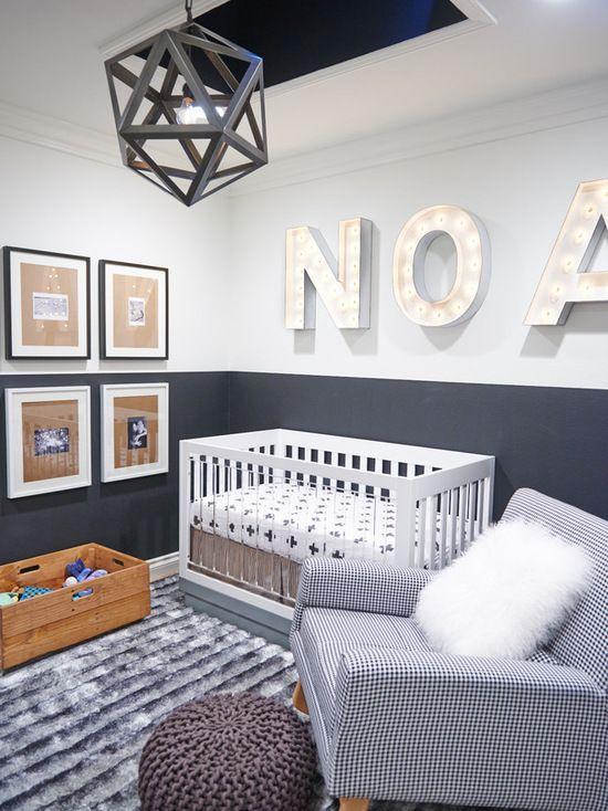 Small contemporary gender-neutral nursery idea with gray walls - love the Tibetan lambskin throw pillow
