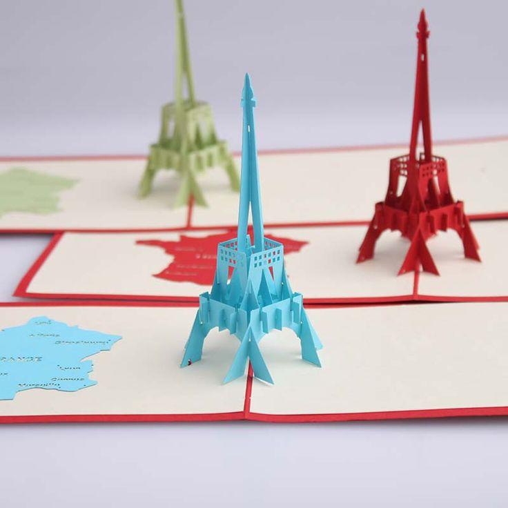 Эй тур эйфелева башня ручной творческий киригами и оригами 3D Pop UP приветствие и подарочные карты бесплатная доставка ( комплект из 10 )