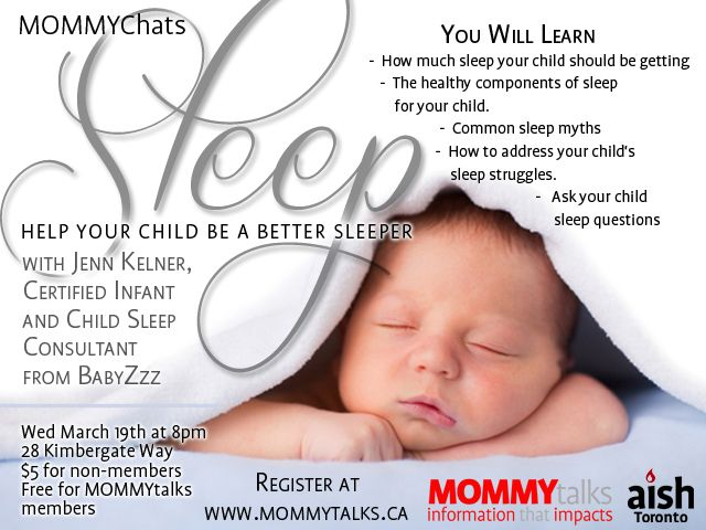 MommyChats Sleep!  Jenn Kelner, Certified Child Sleep Consultant will be talking about how to get your child to be a better sleeper and sleep through the night.