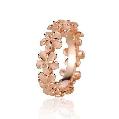 PLUMERIA FLOWER LEI RING https://arthursjewelryhawaii.com/products/rose-gold-plated-silver-925-hawaiian-5mm-plumeria-flower-lei-ring-size-3-10
