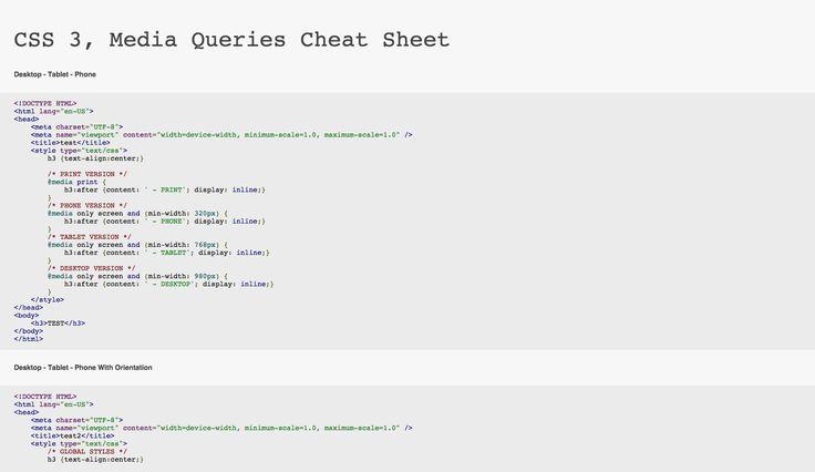 CSS 3, Media Queries Cheat Sheet