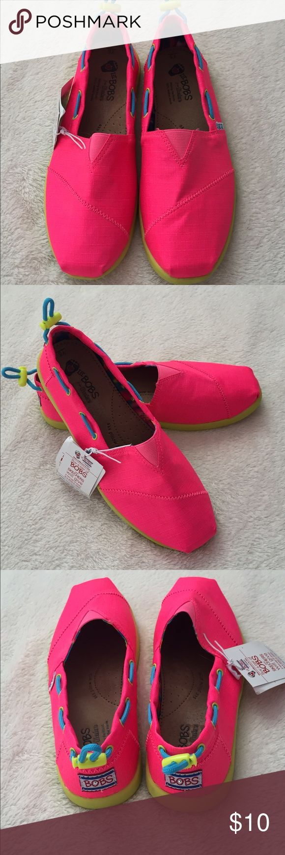 BOBs shoes, NWT!! Super cute neon pink Bobs shoes. Much like TOMS! Brand-new with tags. Size 5 youth. Has bungee adjuster on the back. Bundle 2+ and save 30%!! Please make an offer! BOBS Shoes