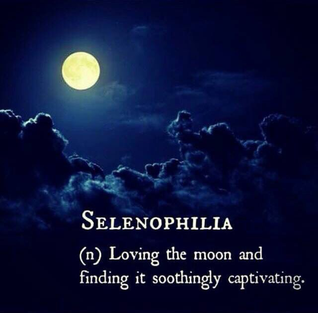 Selenophilia: (n.) Loving the moon and finding it soothingly captivating.