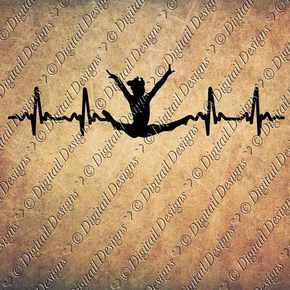 Gymnastik EKG Svg Dxf PNG Fcm Eps Ai Cut Datei für Silhouette geschnitten für Cricut. Turnerin EKG Turnerin Heartbeat