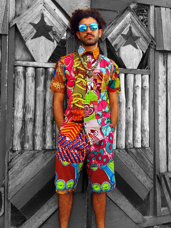 427dc3861 COLOUR ME CRAZY - Mens festival patchwork shirt. Made from recycled pieces  of 100% cotton colourful wax print sewn into patchwork material.