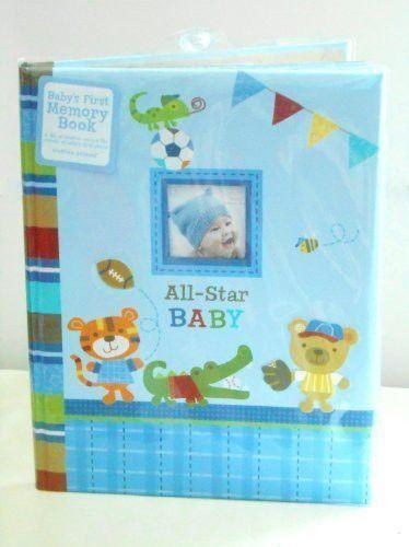 "Baby's First Memory Book ""All-star Baby"" Animals Playing Sports (Football, Baseball, Basketball)"