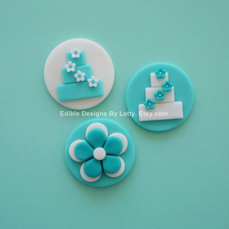 12 Edible Fondant Tiffany Blue Cupcake Toppers