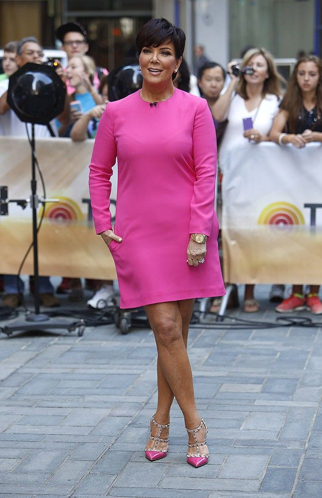"Kardashian matriarch Kris Jenner knows a good color when she sees it, wearing a solid bright pink dress that makes her glow on the ""Today Show."""