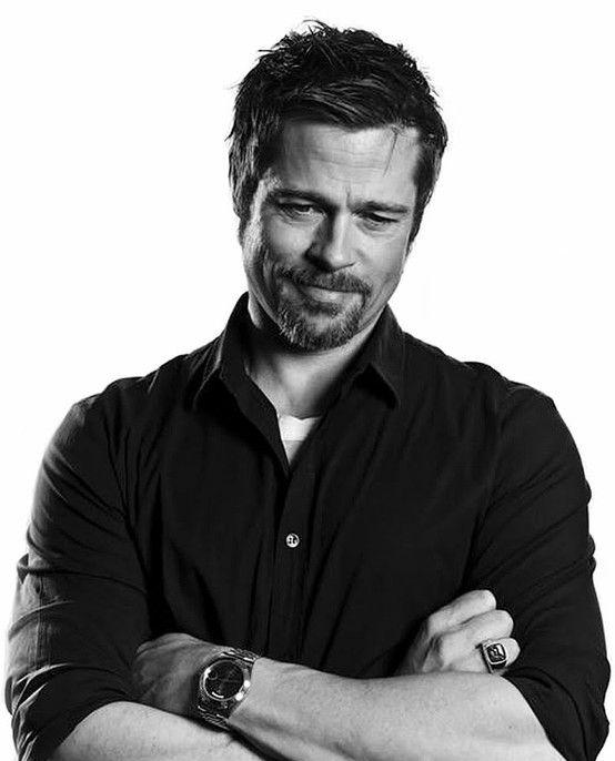 Brad Pitt, handsome, male actor, celeb, beard, powerful face, gesture, steaming hot, sexy, eyecandy, portrait, photo b/w.