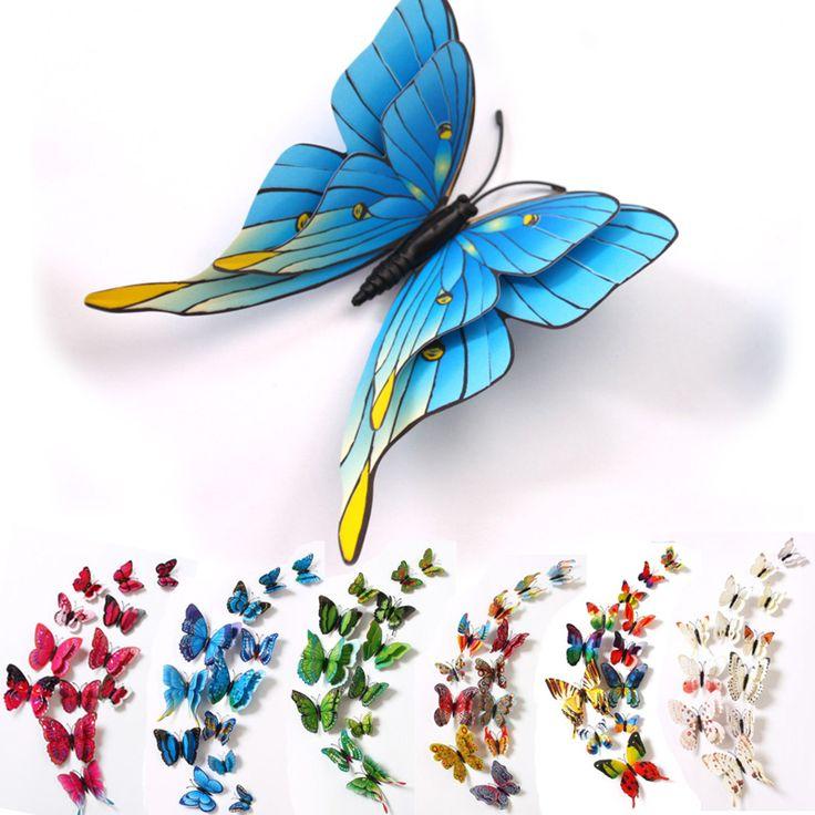 Pas cher 12 pcs 3D Grand Double Couche Aimant Butterfly Pour Enfants Chambres Home Decor Vinyle Mur Réfrigérateur De Noël décoration autocollants, Acheter  De noël de qualité directement des fournisseurs de Chine: caractéristique:  100% tout neuf et de haute qualité.    quantité:un ensemble    matériel: PVC    taille:12