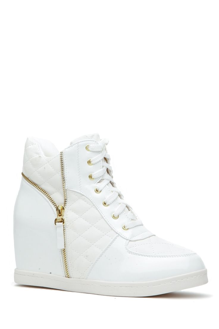 White Faux Patent Leather Zipper Accent Sneaker Wedges @ Cicihot Women Sneakers-Fashion Sneakers,Casual Sneakers,Wedge Sneakers,Platform Sneakers,Hidden Wedge Sneakers,High Top Sneakers,Lace Up Sneakers,Studded Sneakers,Buckle Sneakers