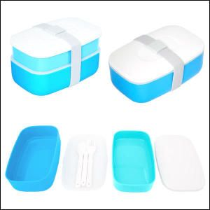"""Reusable Lunch Container. This reusable food grade Plastic lunch container includes a Plastic fork, spoon and knife. Use the grey elastic strap to close securely. It"""" s great for sandwiches, wraps, veggies, fruit and cookies. It is dishwasher safe, BPA Free, FDA compliant and CPSIA compliant. Can also be purchased with lunch bags."""