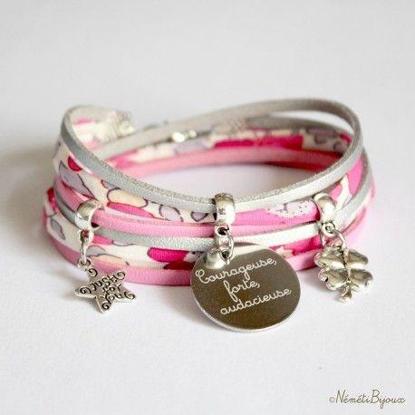 Bracelet liberty gravé personnalisé tissu Betsy Bougainvillée rose et argenté - gravure personnalisée médaille prénom message - bijou fait main Néméti Bijoux