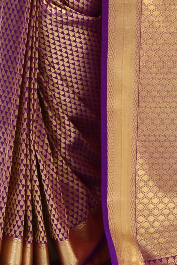 Purple Kanjivaram Silk Saree   Indofash Ethnic
