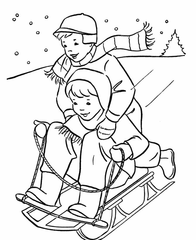 Boys Sledding coloring page