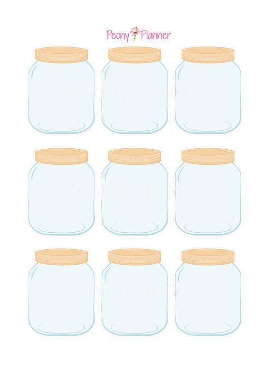 Mason Jar Planner Stickers Erin Condren Kikki K by PeonyPlanner