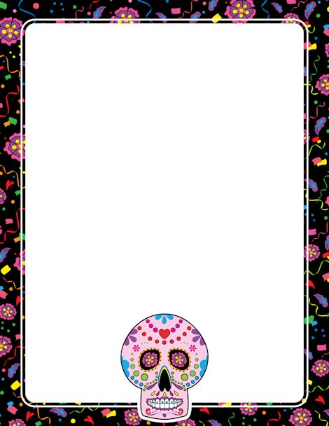Printable Day of the Dead (Dia de los muertos) border. Free GIF, JPG, PDF, and PNG downloads at http://pageborders.org/download/day-of-the-dead-border/