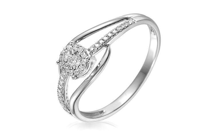 Zlatý zásnubní prsten s diamanty 0,130 ct Chasidy