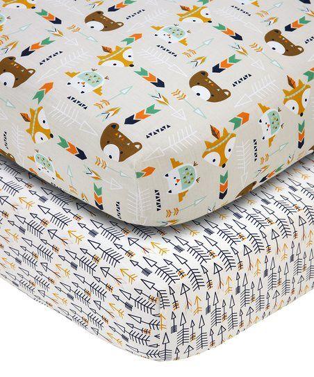 Crown Crafts Ivory & Brown Animal Friends Sheet Set | zulily