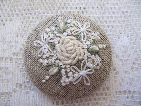 """Brooch 2"""" - Emboidered Roses on linen. $18.00, via Etsy."""