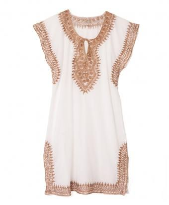 White Cotton Gold Metallic Trim Sleeveless Tunic Dress