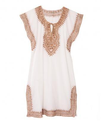 White Cotton Gold Metallic Trim Sleeveless Tunic Dress