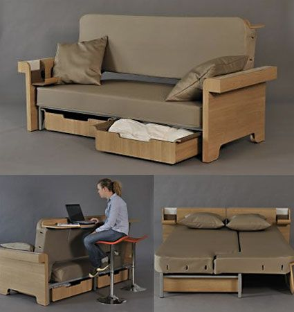 """Multipurpose furniture is the key to making tiny houses work. Designed for a college project by Fanny Adam, """"Story"""" is a sofa prototype that can work as a ..."""