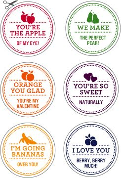 Valentines Day Fruit Stickers by Twig & Thistle | Hello Adorable! - Cute Animals and Loads of Adorable Things to Buy, Eat, Make or Just Look At