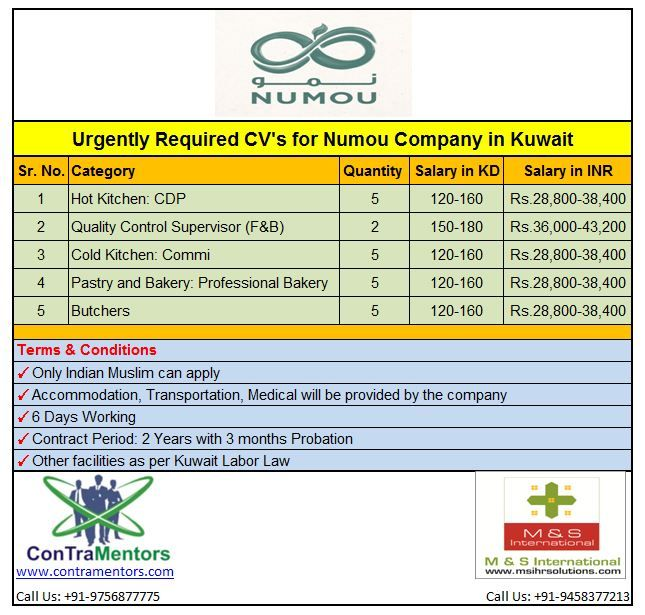Urgently Required Cv S For Numou Company In Kuwait Category